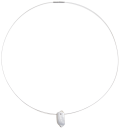 necklace freshwater pearls coin  9-10 mm white steel