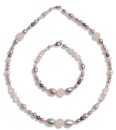 Freshwater necklace and bracelet 5-10mm flats round natural color/colored haem 925/rp