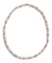Freshwater necklace 5.5-6mm semi round natural multi color 925/rh