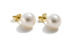 White Cultured Freshwater Ear Studs 7-7.5mm round AAA quality Gold 14ct